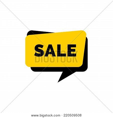 Sale lettering on yellow speech bubble. Inscription can be used for leaflets, posters, banners.