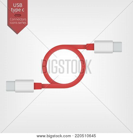 USB type-C red connector cable. Universal interface wire