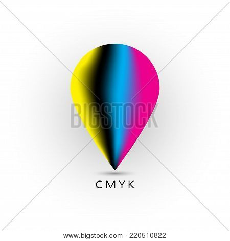 CMYK logo design- cyan and magenta and yellow and key(black) color. Vector Illustration.