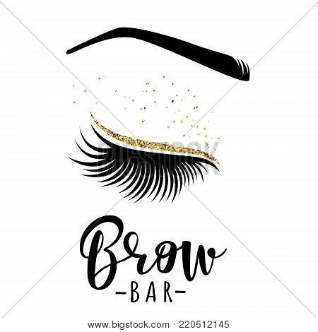 Brow bar logo. Vector illustration of lashes and brow. For beauty salon, lash extensions maker, brow master.