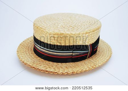 A Vintage 1930 men Straw Hat with Striped Band.