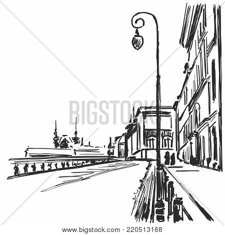 Vector cartoon sketchy drawing of city. Cityscape landscape.