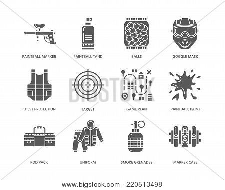 Paintball game glyph icons. Outdoor sport equipment, paint ball marker, uniform, mask, chest protection. Extreme leisure symbols.