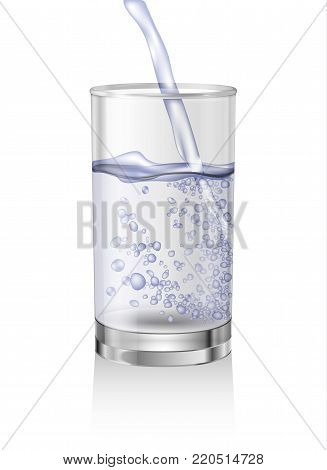 Carbonated pouring water vector for bottle packaging. Realistic glass of water with bubbles and splash. Isolated object on white background.