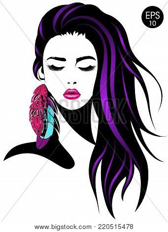 Woman. Vector portrait of pretty girl with color feathers for your design