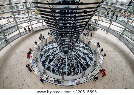 BERLIN, GERMANY - OCTOBER 21, 2017: People walking inside the Reichstag Dome. It is a glass dome constructed on the top of the Reichstag (Bundestag) building, designed by architect Norman Foster
