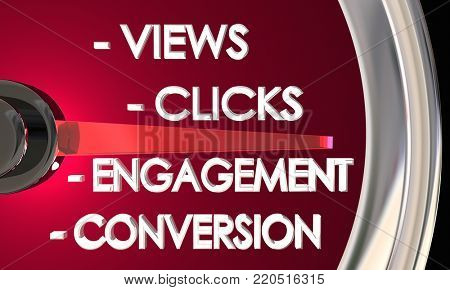 Views Clicks Engagement Conversion Speedometer 3d Illustration