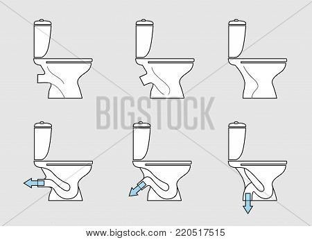 Toilet room furniture sign set. Bathroom interior object view. Toilet type icons. Water closet different models.