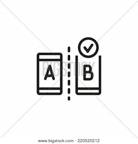Icon of AB testing. Modern devices, choice, result. Comparison concept. Can be used for topics like controlled experiment, research, statistical hypothesis testing