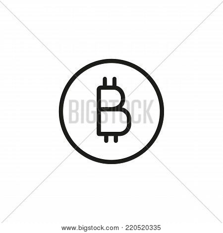 Line icon of bitcoin symbol. Cryptocurrency, global finances, internet money. Money concept. Can be used for topics like internet, finance, banking