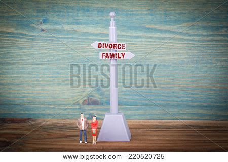 divorce and family. Signpost on wooden table.