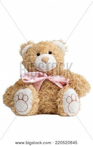 Close-up of a cute teddybear with a pink bow tie, isolated on white background.