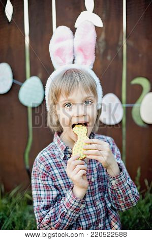 Little boy eats a gingerbread cookie in the shape of the Easter egg. Easter celebration. Laughing children at Easter egg hunt