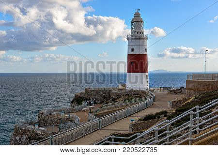 Lighthouse at Europa point at coast of Gibraltar