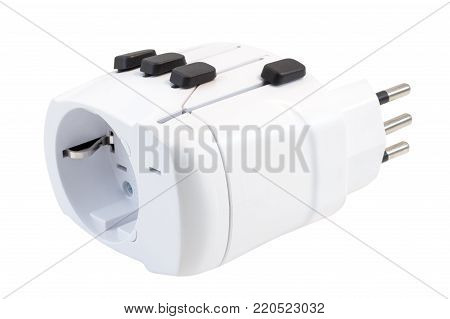 Close-up of an universal travel adapter, isolated on white background