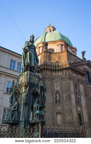 Statue of Charles IV in front of the Church of St. Francis of Assisi at the Old Town in Prague, Czech Republic.