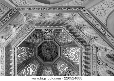 MONSERRATE, PORTUGAL - October 3, 2017: The main dome above the atrium of the Monserrate Palace, an exotic palatial villa located near Sintra, Portugal