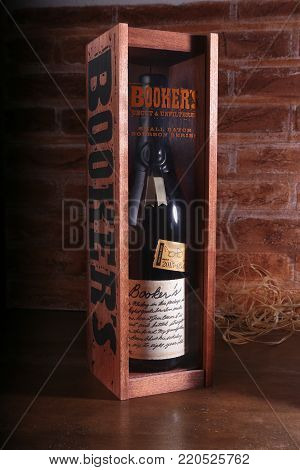 Grodno, Belarus, Januar 02, 2018  Booker's Kentucky straight bourbon whiskey
