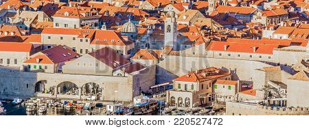 Aerial panorama od old Dubrovnik town in Southern Croatia, european travel places.