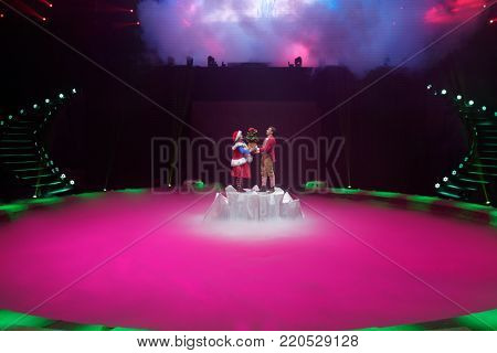 ST. PETERSBURG, RUSSIA - DECEMBER 28, 2017: Victoria Akimova (left) as Gerda and Sergey Akimov as Kai in the circus show Snow Queen by Great Moscow circus. The show created by Zapashny brothers circus