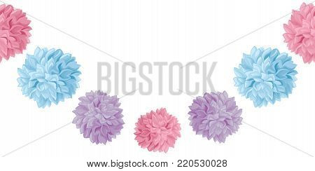 Vector Pastel Colorful Birthday Party Paper Pom Poms Set Horizontal Seamless Repeat Border Pattern. Great for handmade cards, invitations, wallpaper, packaging, nursery designs. Party decor.