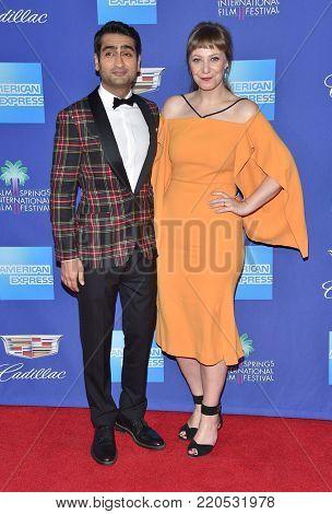 LOS ANGELES - JAN 02:  Kumail Nanjiani and Emily V. Gordon arrives for the 2018 Palm Springs International Film Festival Awards Gala on January 2, 2018 in Palm Springs, CA