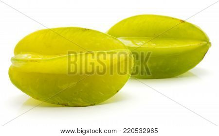 Carambola isolated on white background pair whole