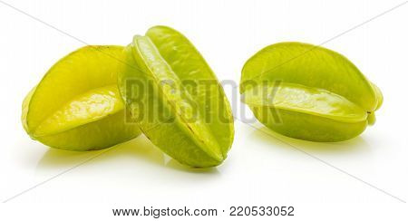 Carambola isolated on white background three whole