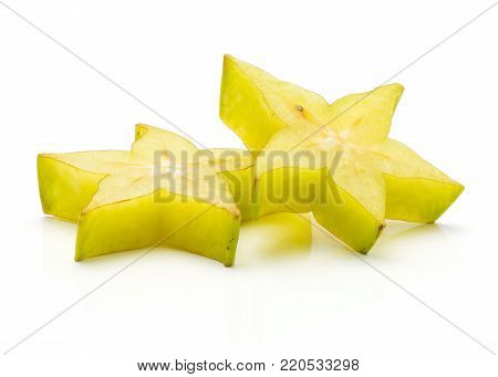 Sliced carambola isolated on white background two star slices