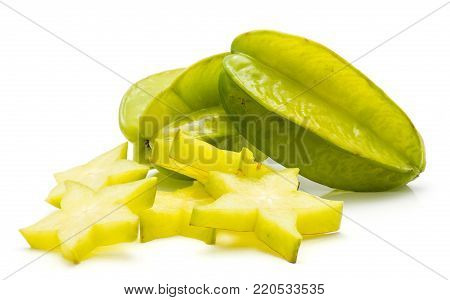 Sliced carambola isolated on white background two whole and a lot of star slices