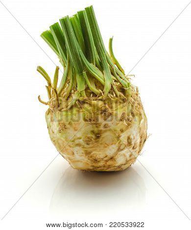 Fresh celeriac isolated on white background one whole bulb