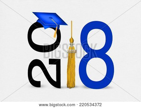 blue 2018 graduation cap with gold tassel illustration on soft textured background