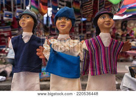 Otavalo, Ecuador- November 25, 2017: closeup of indigenous dolls sold in the Saturday artisan market