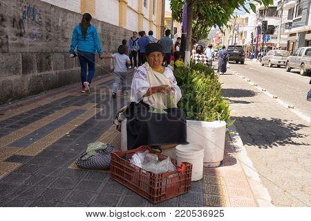 Otavalo, Ecuador-December 23, 2017: indigenous woman selling peas on the street