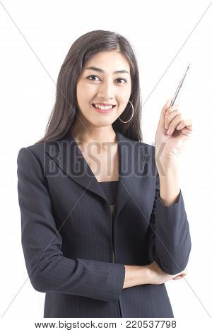 Asian Business Woman confused with hands up, Woman with problem for work concept. isolated on white background.