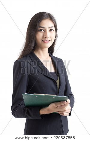 Asian Business Woman Confused With Hands Up, Woman With Problem For Work Concept. Isolated On White