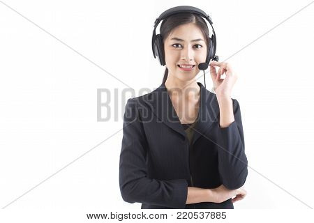 Asian Callcenter Woman Smiling, Woman Stand And Smile, Isolated On White Background, Woman Working C
