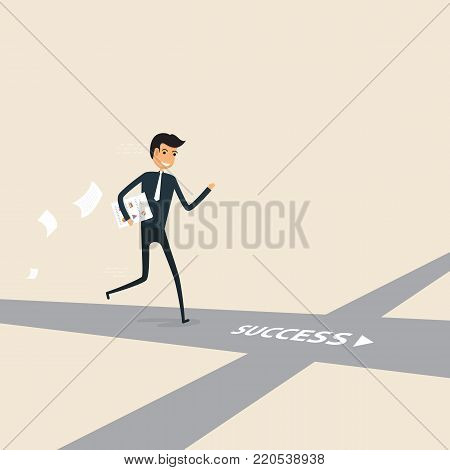 Way of success.Concept for success.Businessman walking on the street of success.Businessman on the road to success in business.Business vector concept illustration