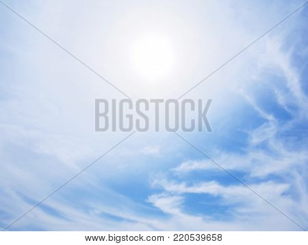 Sun on blue sky with white clouds and day light for natural background