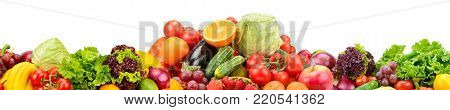 Panorama of fresh fruits and vegetables useful for health isolated on white background. Copy space