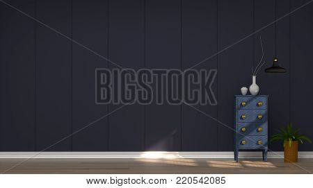 cabinet in front of dark blue wall on wooden floor 3d rendering modern mid century room interior white lamp in vintage empty home living room interior design