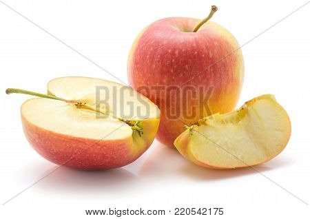 Apple set (Evelina variety) isolated on white background one whole one half one slice composition