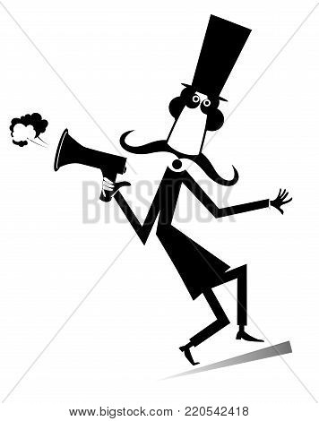 Cartoon long mustache man with megaphone illustration isolated. Mustache man in the top hat gives directions by megaphone silhouette black on white