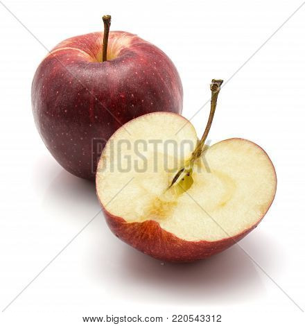 Gala apple, one whole and a half, isolated on white background