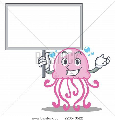 Bring board cute jellyfish character cartoon vector illustration