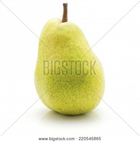 Green pear isolated on white background one whole