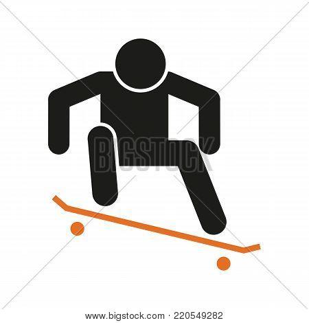 Simple Skateboard Ollie Sport Figure Symbol Vector Illustration Graphic Design