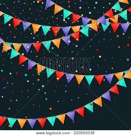 Bunting Flags Garland. Fascinating Celebration Card. Bright Holiday Decorations And Confetti. Buntin