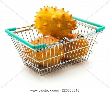 Three kiwano in shopping basket isolated on white background
