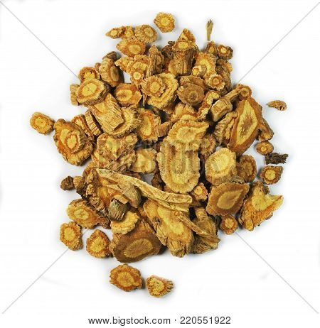 Saposhnikovia divaricata, root,  chinese herbal medicine isolated. Fang Feng